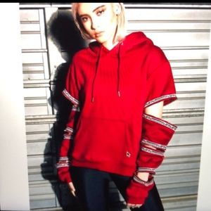 LF Los Angeles Brand Red Hoodie Taped logo Sz XS